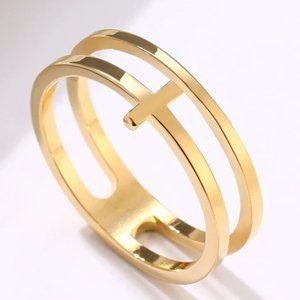 Sideways Cross Double Gold Ring - Stainless Steel